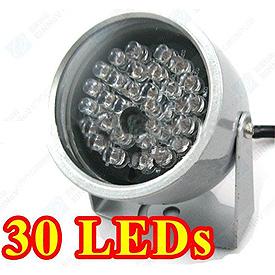 Iluminador Infrarrojo con 30 LEDs IR para la Visión Nocturna (45° de cobertura, hasta 15m)