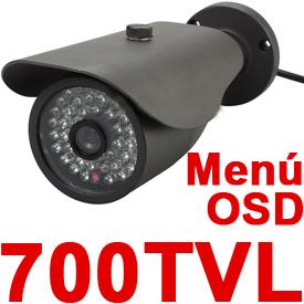Cámara de Vigilancia c/Menú OSD, CCD Sony y 48 LEDs IR para la Visión Nocturna de 50m (Lente de 6mm)