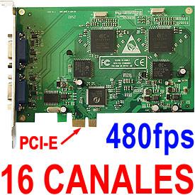 Tarjeta DVR de Vigilancia para 16 Cámaras, 480fps (PCI-e, Win2K/XP/Vista, 32-bit)