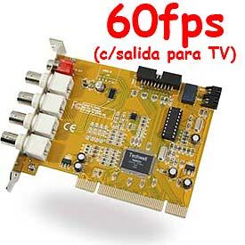 Tarjeta DVR de Vigilancia para 4 Cámaras, 60fps (Win2K/XP)