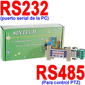 Convertidor RS232-a-RS485 para Control PTZ desde una PC