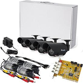 Kit Completo c/4 Cámaras, 4 Cables y 1 Tarjeta DVR de 60fps para 4 Cámaras