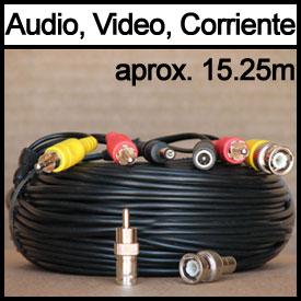 Cable de Extensión de 15.25m para Video, Corriente y Audio (o PTZ)
