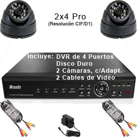Kit Completo CCTV c/DVR Pro de 4 Puertos, Disco duro de 320GB, 2 Cámaras Prémium, 2 Cables