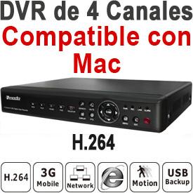DVR Pro de 4-Canales, 120fps, VGA, 4x Audio, PTZ, Acceso por LAN, Internet y 3G, Compatible con Mac!