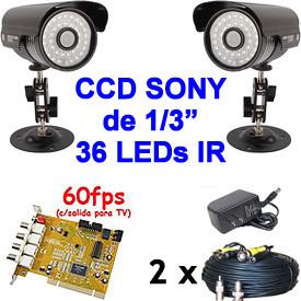 Kit Completo con 2 Cámaras IR Premium, 2 Cables y 1 Tarjeta DVR de 60fps para 4 Cámaras