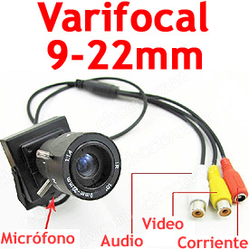 Mini Camara CCTV con CCD Sony, Lente Varifocal de 9-22mm y Micrófono Incorporado