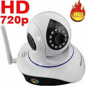 Cámara IP Motorizada HD 720p p/Interior c/DVR Incorporado, IR, Filtro IR-Cut y Audio Bi-direccional (802.11b/g/n, Blanca)